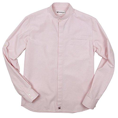 Chemise double col mao en coton Oxford rose
