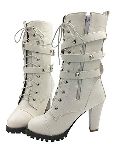 Neve Caldo Antiscivolo Boots Fibbia Up Lace Stivali Inverno Minetom Rivetti Cavaliere Martin Stivali Snow Bianco Donna Stivali FqPvwISg0