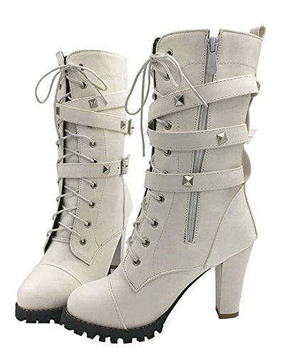 Cuir Hauts Blanc Hiver De Street Chaussure Casual Bottes Martin En Mode Confortables Chaussures Bottines Automne lgant Minetom Talons 61xUH8w