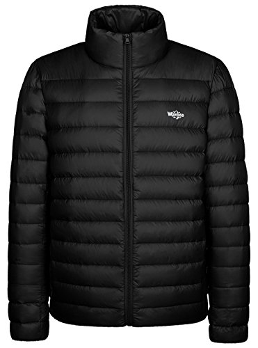 Wantdo Men's Packable Stand Collar Light Weight Down Jacket X-Large Black