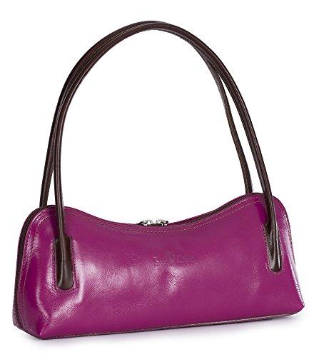 Bag Satchel Evening Shoulder Small Brown Pink Clutch Genuine Trim Italian ARYA Leather LIATALIA YW1F68Rn