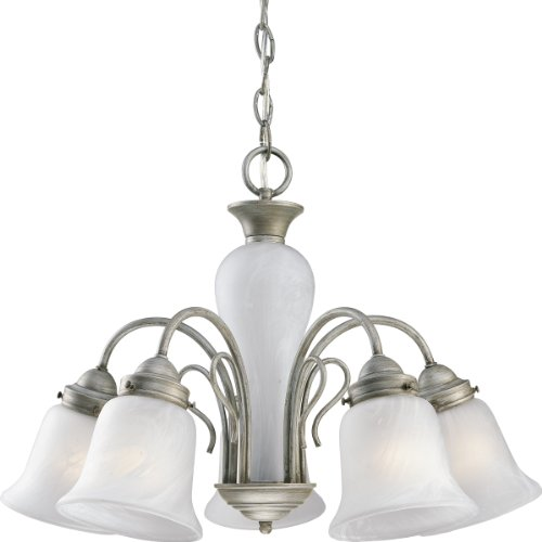 Progress Lighting P4391-44 Five-Light Chandelier with Etched Alabaster Glass Shades and Center Column, Oxford Silver