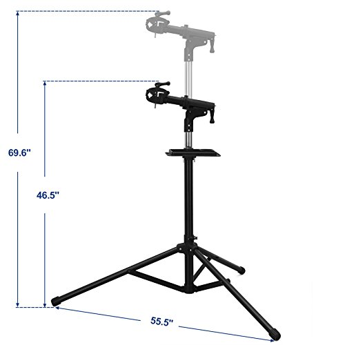 SONGMICS Bike Repair Stand with Aluminum Alloy Arm, Large Tool Tray, Full Features Stronger & Durable, Portable, Compact USBR03B by SONGMICS (Image #2)