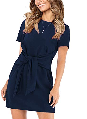 onlypuff Tie Front Pencil Dresses for Women Navy Blue Above-The-Knee Length Tunic Tops Crew Neck S ()