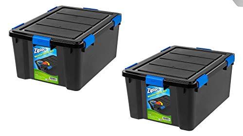(Ziploc 60 Qt. WeatherShield Storage Box, Black - 2 Pack)