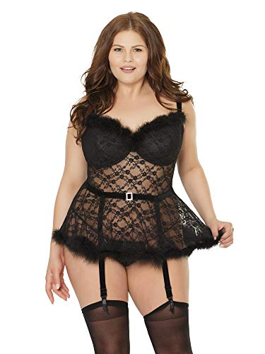(Coquette Womens Plus Size Faux Fur Trimmed Underwire Velvet and Lace Peplum Bustier Top Lingerie )