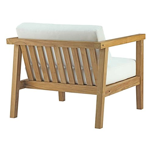 Modway EEI-2695-NAT-WHI Bayport Outdoor Patio Teak Armchair
