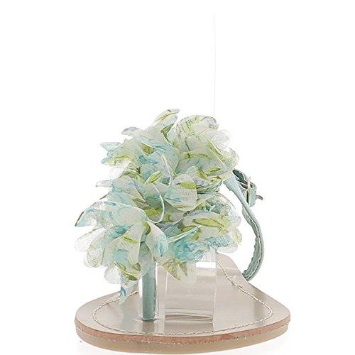 Chanclas azul verdes plana con entre tela de flor de la decoración de dedo