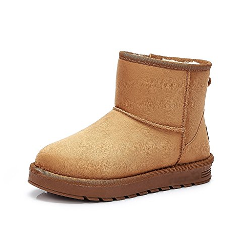Women snow boots winter thicking cotton shoes students warm flat boots ( Color : Brown , Size : US:7.5\UK:6.5\EUR:40 )