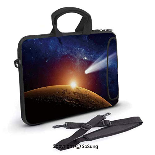 12 inch Laptop Case,Comet Tail Approaching Planet Mars Fantastic Star Cosmos Dark Solar System Scenery Neoprene Laptop Shoulder Bag Sleeve Case with Handle and Carrying & External Side Pocket,for Netb