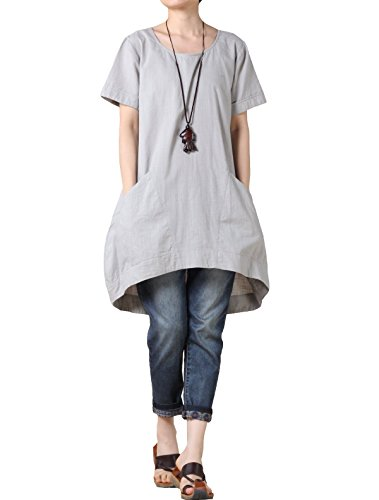 Mordenmiss Women#039s Cotton Linen Tunic Tops HiLow Dresses with Pockets
