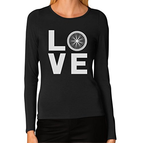 (Love Cycling - Bicycle Riders Gift Idea - Bike Lover Women Long Sleeve T-Shirt Small Black)