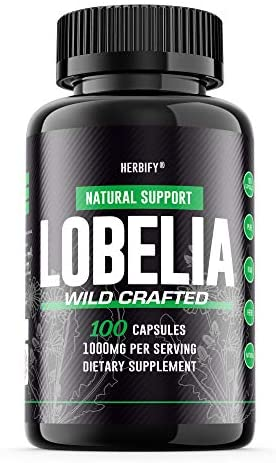 Lobelia Capsules 1000mg, Lobelia Pills Lobelia inflata , Wild Crafted Herbal Lung Support, Musculoskeletal System Support, 100 Capsules 100