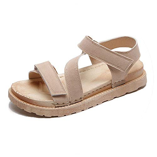 Women Sandals New Lager Size 36-42 Shoes Summer Platforms Flock Classics Ladies Party Sandal Flat with Spring Beige ()
