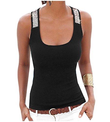 Tank Sequin Trim (Freely Women's Trim-Fit Sequin Splice Soft Plush Tank Top Vest Blouse Black L)