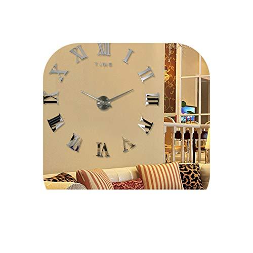 Wall Clock 2019 Digital Mirror Big Wall Clock Modern Living Room Quartz Metal Clocks Home Decoration Watch,Sky Blue,37Inch