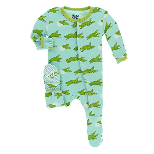 Kickee Pants Little Boys Print Footie with Snaps - Glass Sea Turtles, 2T