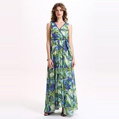 PU&PU Robe Aux femmes Swing Sexy / Bohème,Fleur Col en V Maxi Polyester , emerald , l