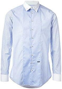 DSQUARED2 Hombre Azul Multicolor Estampado Algodón Camisa Corte Slim Talla 52/XL - Azul, Extra Grande: Amazon.es: Ropa y accesorios