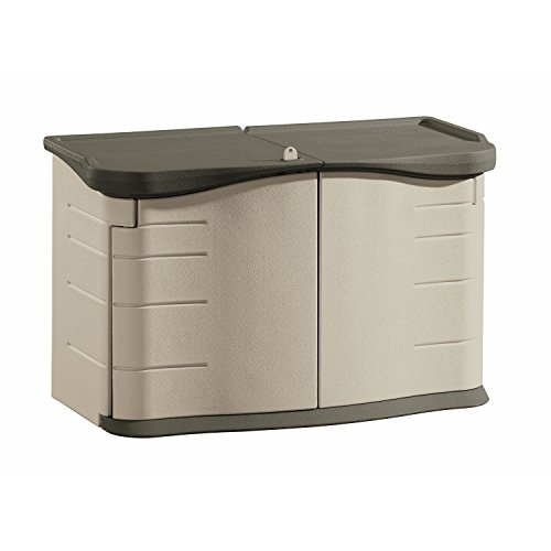 Rubbermaid Outdoor Split-Lid Storage Shed, 18 cu. ft., Olive/Sandstone (FG375301OLVSS0) (Generator Storage Box)