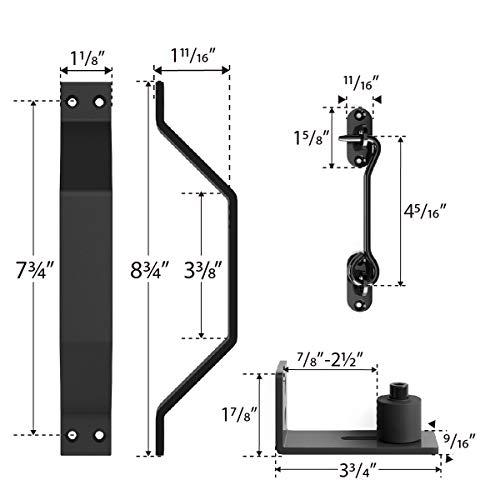 10 FT Heavy Duty Double Gate Sliding Barn Door Hardware Kit, 10ft Double Rail, Black, (Whole Set Includes 2x Pull Handle Set & 2x Floor Guide & 1x Latch Lock) Fit 30'' Wide Door Panel (I Shape Hangers) by SMARTSTANDARD (Image #5)