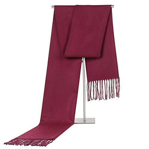 180cm Red Scarf Rhine Change Cashmere Winter Jujube Tassel Autumn Amdxd Monochrome For Men 7RxnwB