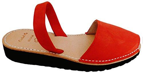 Rojo 5 avarcas Avarcas forme cm cuir Plate 2 coin nobuck menorquínas Menorquinas WvqZp8Xp