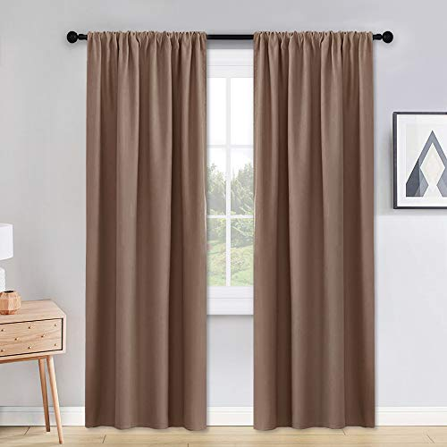PONY DANCE Curtains for Living Room - 42 x 90 inches Mocha Thermal Insulated Blackout Window Treatments Home Decor Light Block Curtain Long Draperies Energy Efficient, Set of 2