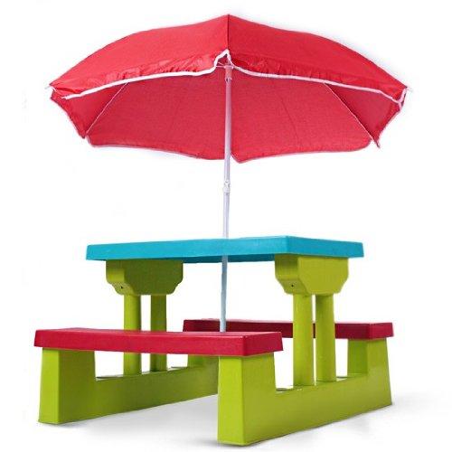 Infantastic Kindersitzgruppe inkl. Sonnenschirm - Kinder Sitzgruppe 2 Bänke + Tisch für bis zu 4 Kinder