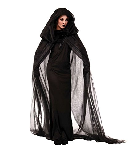 WELVT Ghost Bride Halloween Cosplay Costume Witch Vampire Black Uniform Clothes XL