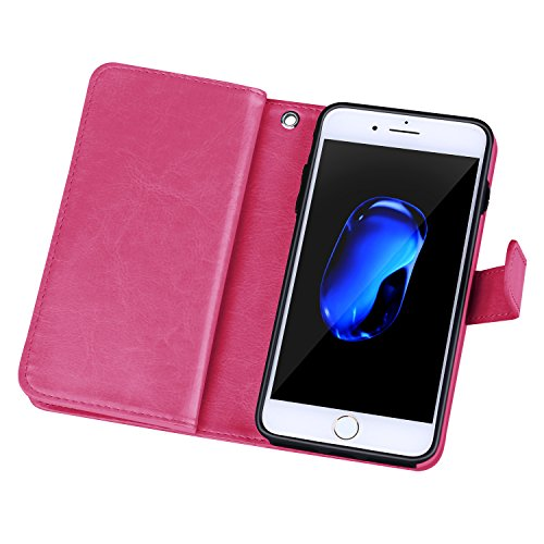 For iPhone 7(4.7), Urvoix (TM) Wallet Leather Flip Card Holder Case, 2in 1Detachable Magnetic Back Cover iPhone 7(Not for 7plus) Rosa