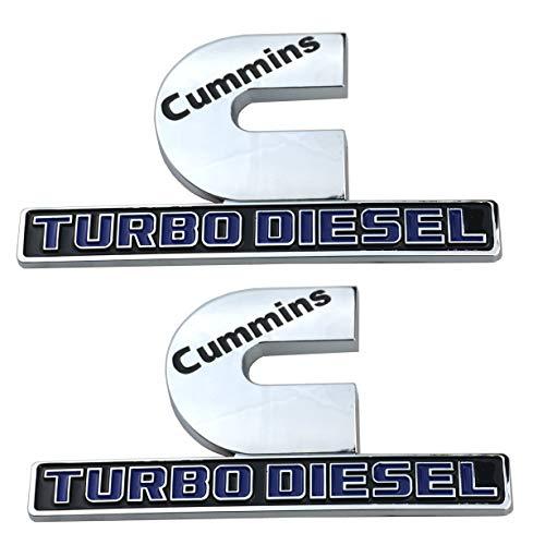 2 Pack Cummins Turbo Diesel Emblems, Badges High Output Nameplate Replacement Sticker for RAM 2500 3500 Fender Emblem Mopar (Chrome/Blue) -