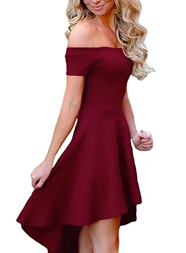 Low The Women Red Dress Sidefeel Off Shoulder Skater Club Short High Hem Sleeve Cocktail qEFS0T