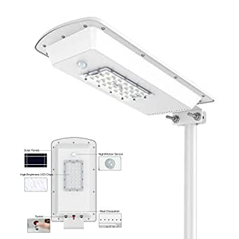 TENKOO Solar Powered Street Light Dusk to Dawn, Lithium Battery  -Wireless-Waterproof IP65-Light/Motion Sensor Commercial or Industrial  Grade Security