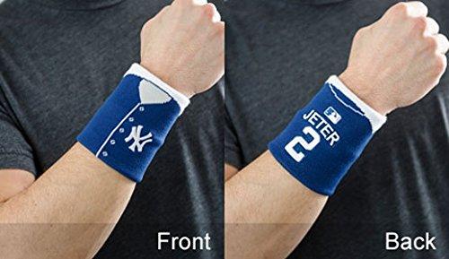 MLB New York Yankees Derek Jeter Jersey #2 Fan Band Wristband Sweatband (Blue) (New York Yankees Wristbands)