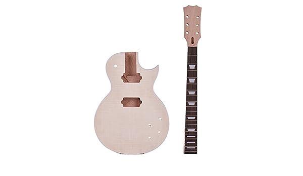 ammoon Guitarra Eléctrica Estilo LP Inacabada Kit de Bricolaje Cuerpo de Caoba &Cuello Rose Wood Diapasón: Amazon.es: Instrumentos musicales