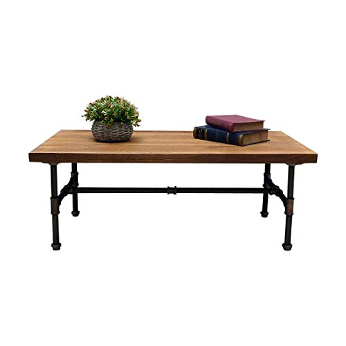 FURNITURE PIPELINE Industrial, Rectangle Pipe Coffee Cocktail Table, Metal with Reclaimed Aged Wood Finish, Rustic Bronze with Light Brown Stained Wood ()