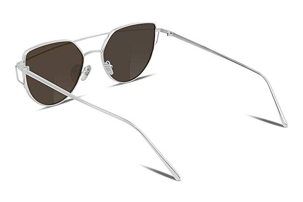 Ruike Cat Eye Mirrored Flat Lenses Street Fashion Vintage Metal Frame Sunglasses For Men//Women silver blue