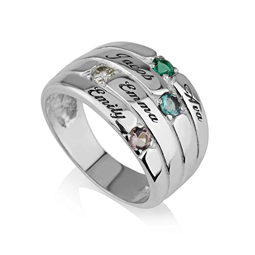 Mothers Ring Engraved Birthstone Ring 4 Stone Ring -925 Sterling Silver - Personalized & Custom Made (6) Custom Made Silver Ring