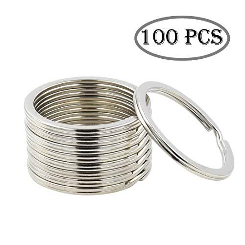 Key Nickel Plated Ring (Key Ring - 100PCS, 32mm Nickel Plated Square Edged Split Key Chain Rings for Car Home Keys Organization, Arts & Crafts, Lanyards)