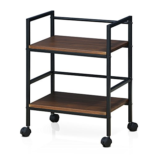 Furinno FM4560WDW Modern Lifestyle Storage Cart with Casters, Dark Walnut by Furinno
