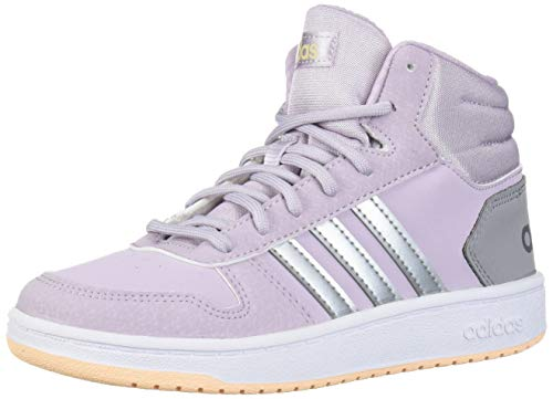 adidas Baby Hoops MID 2.0 K Sneaker, Mauve/Matte Silver/Light Granite, 5.5 Standard US Width US Toddler