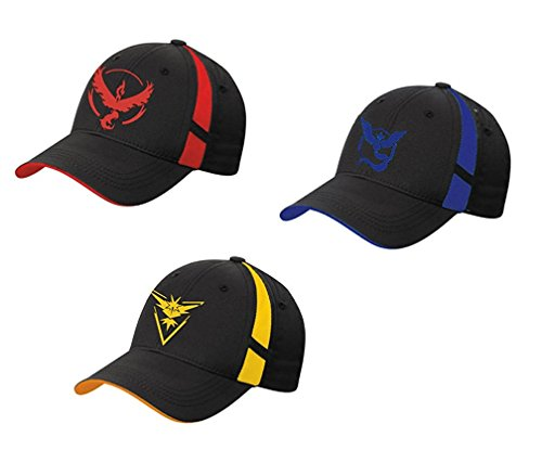 [(Set of 3) Pokemon Go Hats Caps Style Embroidered Team Mystic: Red, Yellow and Blue] (Pokemon Costumes Adults)