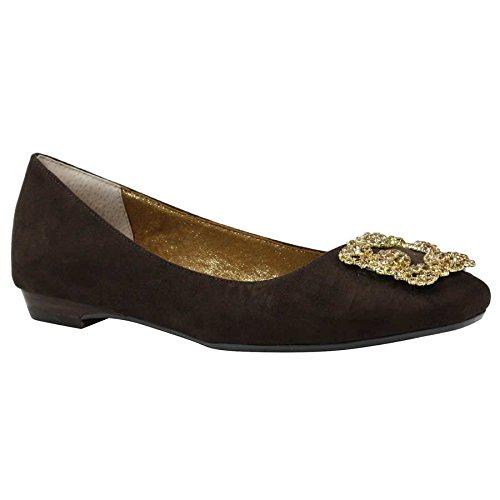 J.Renee Women's Dewport Ballet Flat, Chocolate, 7.5 Medium US Ballet Flats Chocolate