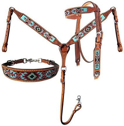 TACK Showman Leather Bridle /& Breast Collar SET BURGUNDY Design /& Cross Conchos