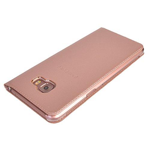 Galaxy C5 Pro Funda,COOLKE Diseño de ventana Flip Funda Con Soporte Plegable Carcasa Funda Tapa Case Cover para Samsung Galaxy C5 Pro - Negro Rose Oro