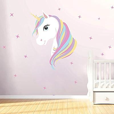Freebily Cute Unicorn Wall Sticker, Cartoon Bling Stars Removal Wallpaper Sticker Decal Vinyl Home DIY Kids Girls Room Decoration