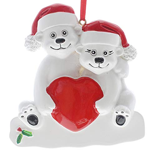 SMYER Polar Bear Family Personalize Christmas Ornament, Free