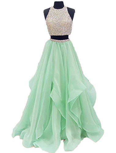Beaded DKBridal Top Dresses Evening Gown Pieces Mint Two Prom aqd4qPw