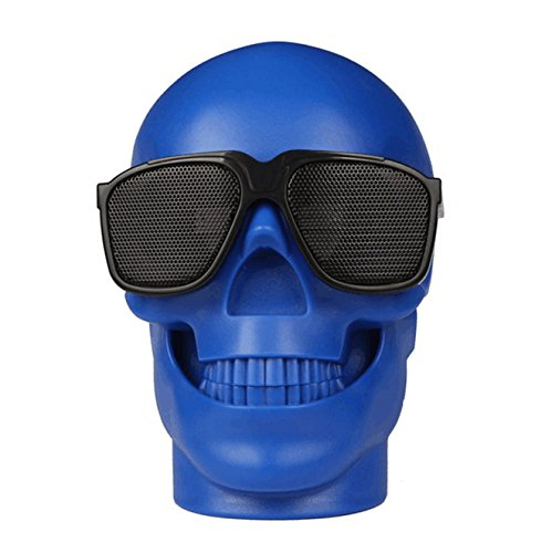 WJM Wireless SKULL Speakers Ghost SoundBox, Portable Bluetooth 4.1 Evil Speaker with HD Sound and Bold Bass, Hands free for iPad, iPod, iPhone, Saumsung, Tablets, Kids Gifts Andriod iOS Toys -Blue by WJM
